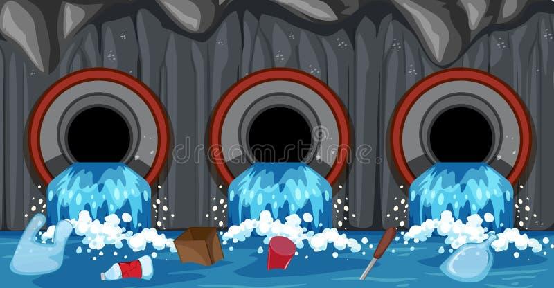 Ściekowy Fajczany system Od gospodarstwa domowego ilustracja wektor