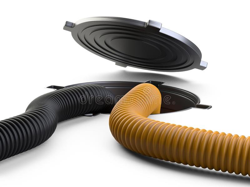 Ściekowy ląg z otwartą pokrywkową manhole dziury okładkową i dużą pomarańcze crimped zasysających węże elastycznych dla jałowego  ilustracja wektor