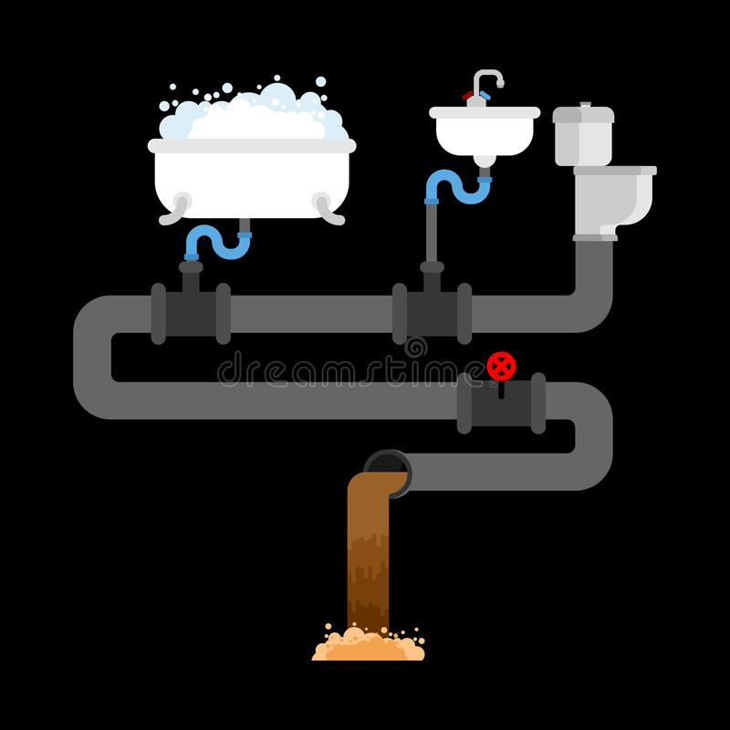 Ściekowy system w domu ale zawory Zlew i toaletowy puchar B ilustracji