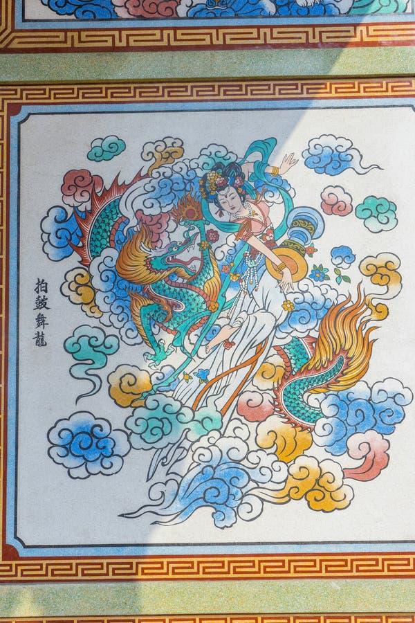 Ścienna sztuka w Chińskiej Naja świątyni zdjęcia royalty free