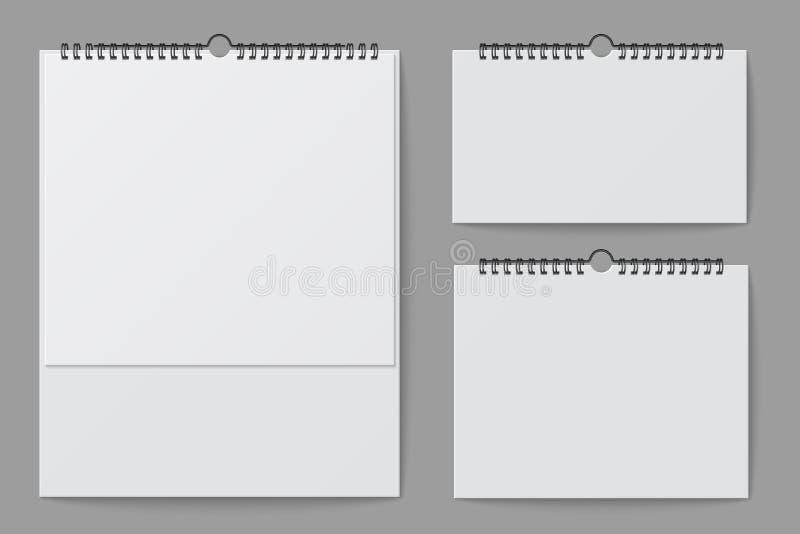 Ściennego kalendarza mockup Pusty biały desktop biuro kalendarz z ślimakowatym segregatorem 3d wektoru odosobniony szablon royalty ilustracja