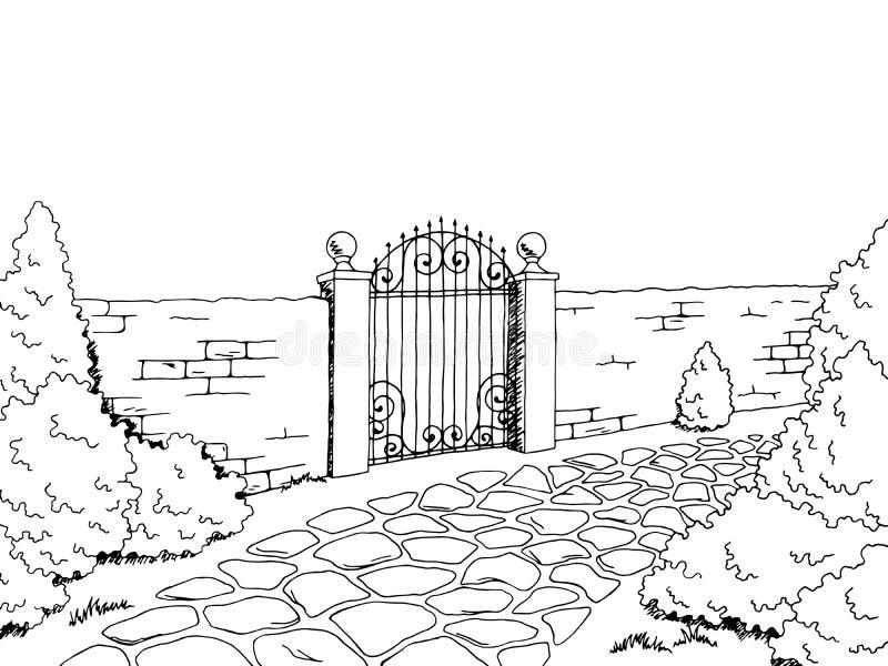 Ściennego płotowego brama krajobrazu nakreślenia graficzna czarna biała ilustracja ilustracji