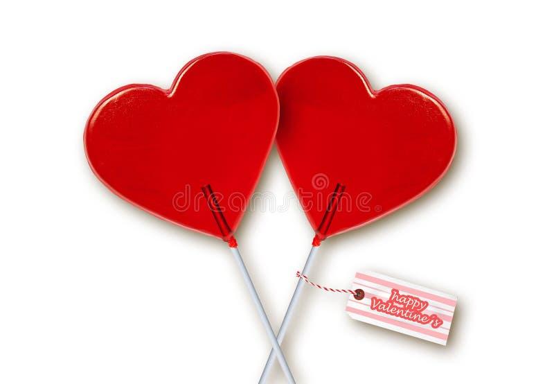 Ściennego papieru walentynek dnia kartka z pozdrowieniami z parą czerwoni kierowi kształtów lizaki wpólnie odizolowywający na bia obrazy royalty free