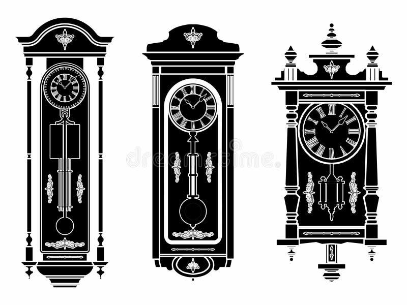 Ściennego zegaru czerni pełnia royalty ilustracja