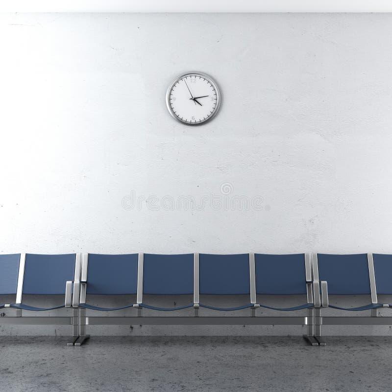Ściennego zegaru i błękita siedzenia zdjęcie royalty free