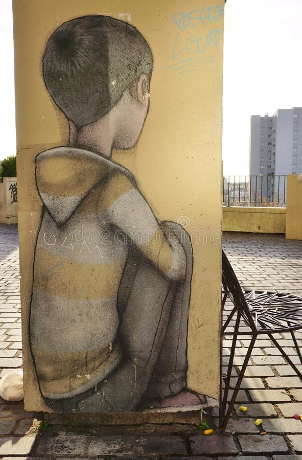 Ścienni malowidło ścienne obrazy sławnym Francuskim ulicznym artystą Seth Globepainter przy Parc De Belleville w Paryż (Julien Ma zdjęcie stock