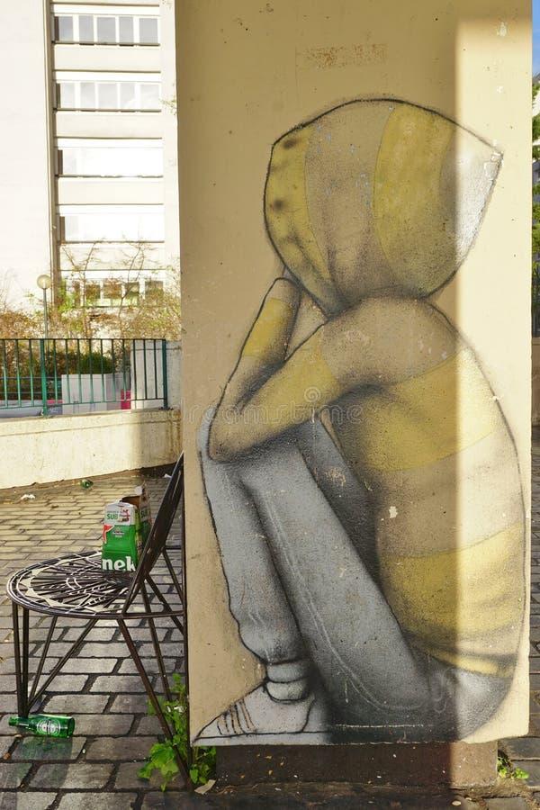 Ścienni malowidło ścienne obrazy sławnym Francuskim ulicznym artystą Seth Globepainter przy Parc De Belleville w Paryż (Julien Ma obrazy stock