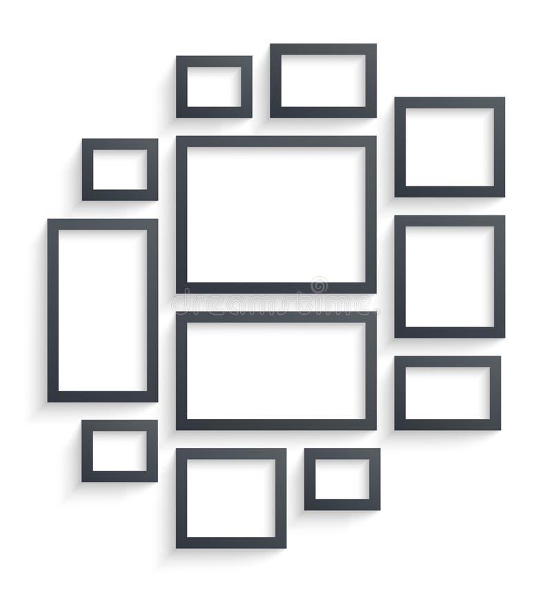 Ścienni obrazek ramy szablony odizolowywający na białym tle Puste fotografii ramy z cieniem, granicami i cienia wektorem royalty ilustracja