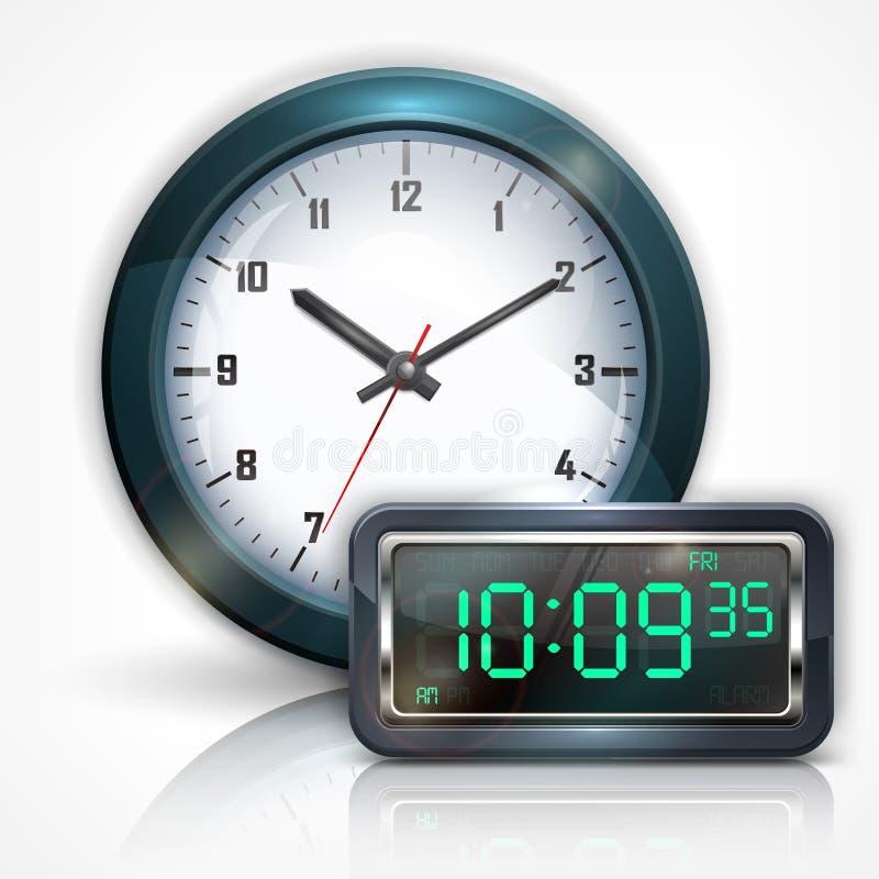 Ścienni zegary i elektroniczna tarcza na bielu ilustracji