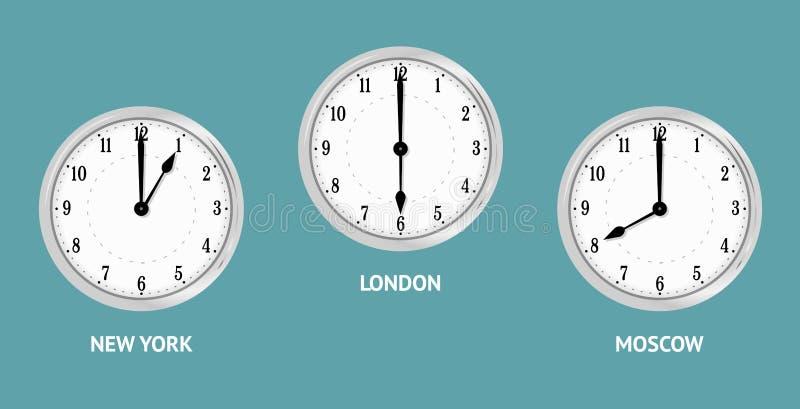 Ścienni zegary pokazuje lokalnych czasy ilustracja wektor