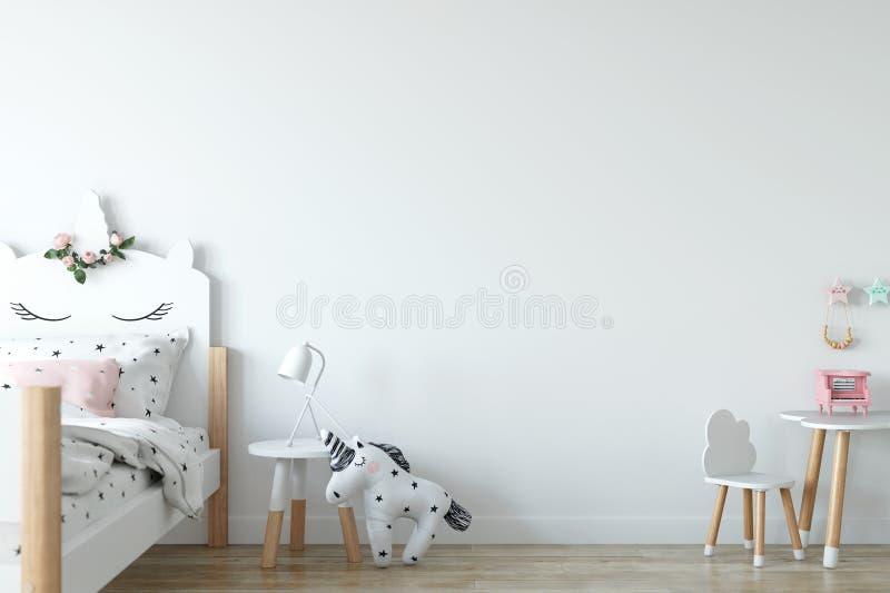 ścienny egzamin próbny up Dziecka ` s pokoju wnętrze Skandynawa styl 3D rendering, 3D ilustracja ilustracja wektor