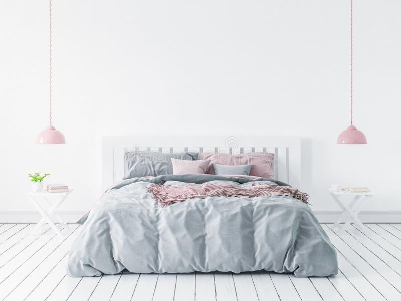 Ścienny egzamin próbny w nowożytnej sypialni, skandynawa styl royalty ilustracja