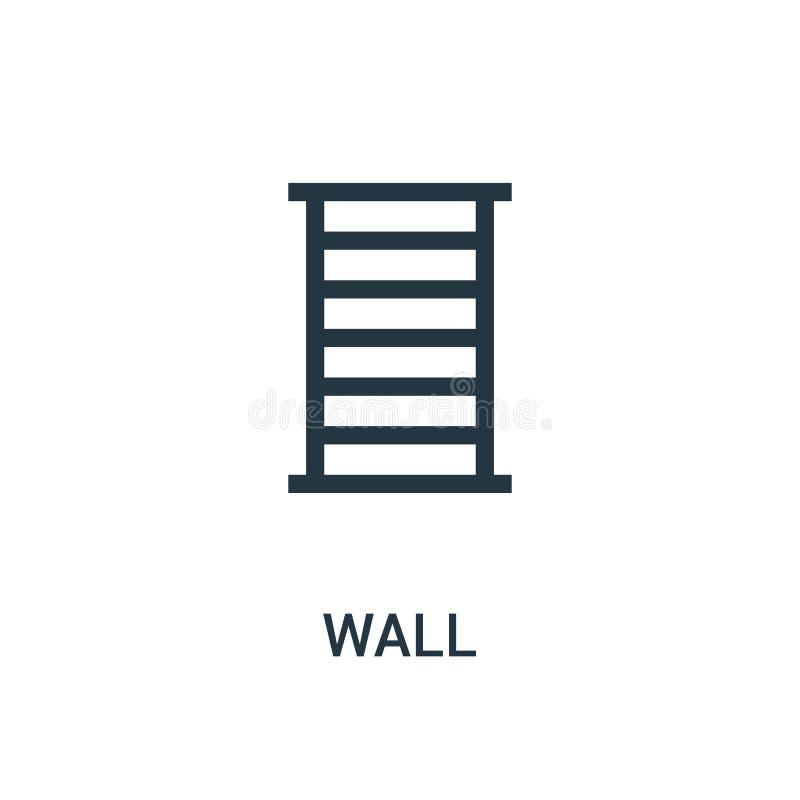 ścienny ikona wektor od gym kolekcji Cienka linii ściany konturu ikony wektoru ilustracja ilustracja wektor