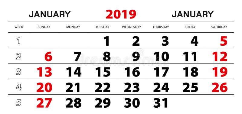 Ścienny kalendarz 2019 dla Stycznia, tygodnia początek od Niedziela ilustracja wektor