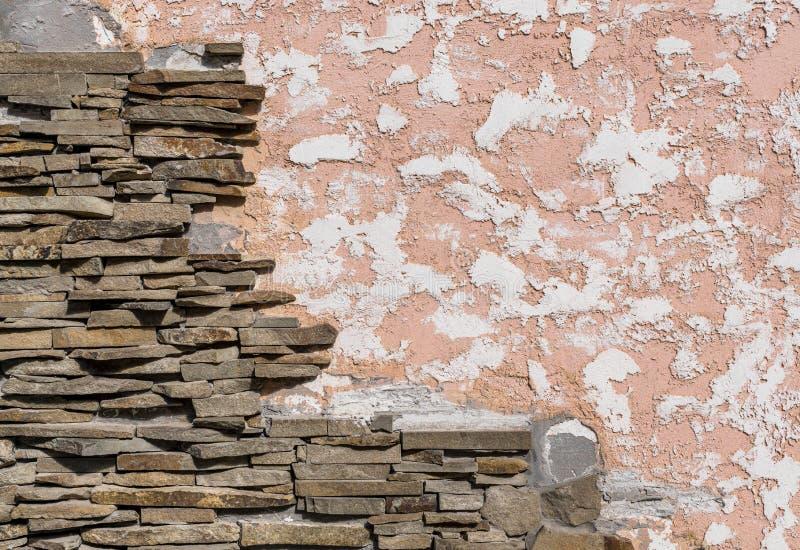Ścienny tynk i kamień fotografia royalty free