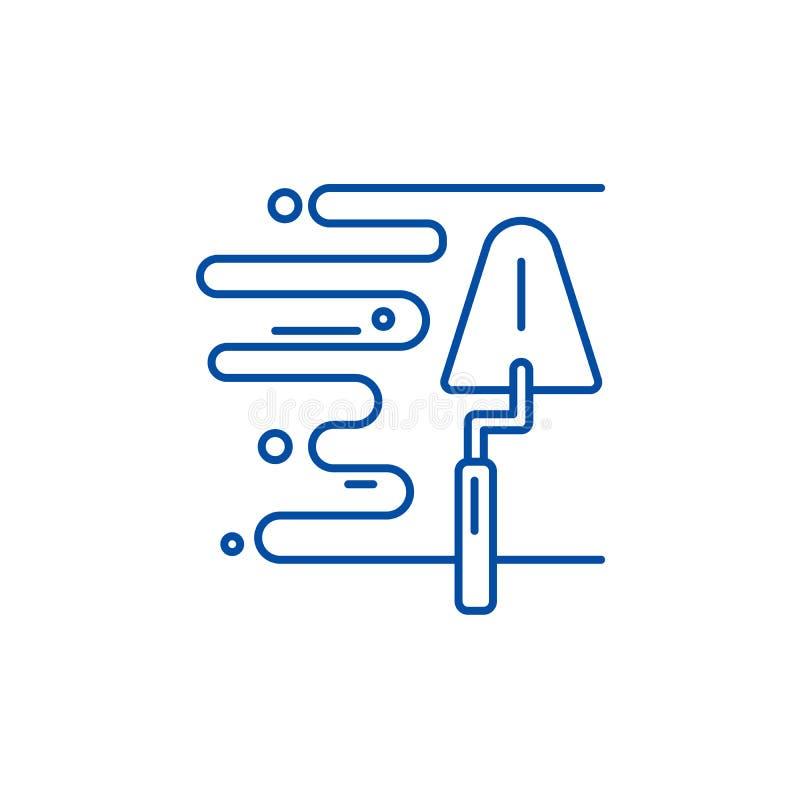 Ścienny tynk linii ikony pojęcie Ściennego tynku płaski wektorowy symbol, znak, kontur ilustracja royalty ilustracja