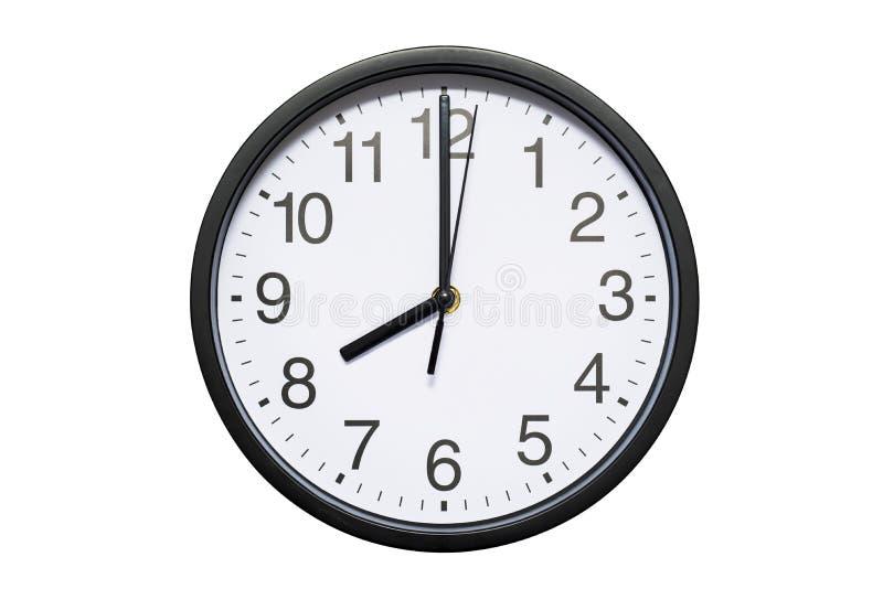 Ścienny zegar pokazuje czasowi 8 godzin na białym odosobnionym tle Round ścienny zegar - frontowy widok Dwadzieścia godzin obraz royalty free