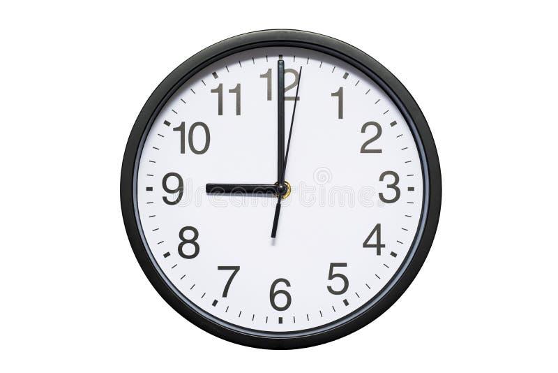 Ścienny zegar pokazuje czasowi 9 godzin na białym odosobnionym tle Round ścienny zegar - frontowy widok Dwadzieścia jeden godziny zdjęcia stock