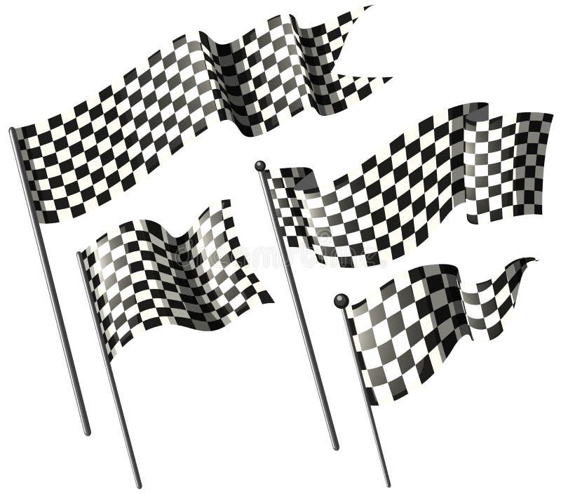 Ścigać się flaga na metali słupach royalty ilustracja