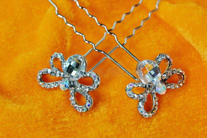 Ścigi biżuterii motyli krystaliczni diamentowi akcesoria fotografia royalty free