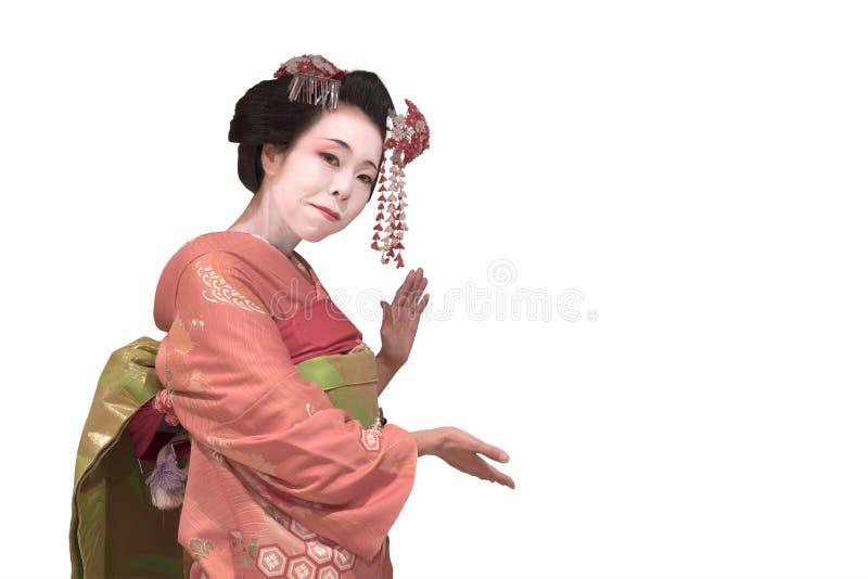 Ścinek gejszy maiko japońska dziewczyna w czerwonym kimonowym oczepionym włosianym br zdjęcia stock