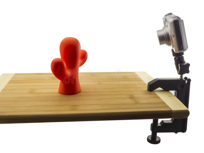 Ścisła kamera na stołowym kahata tripod fotografia stock