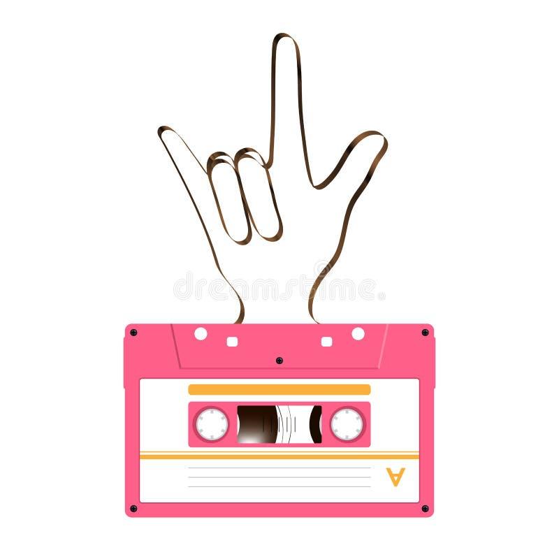 Ścisłe audio kasety menchie barwią i kocham ciebie ręki szyldowy langu ilustracji