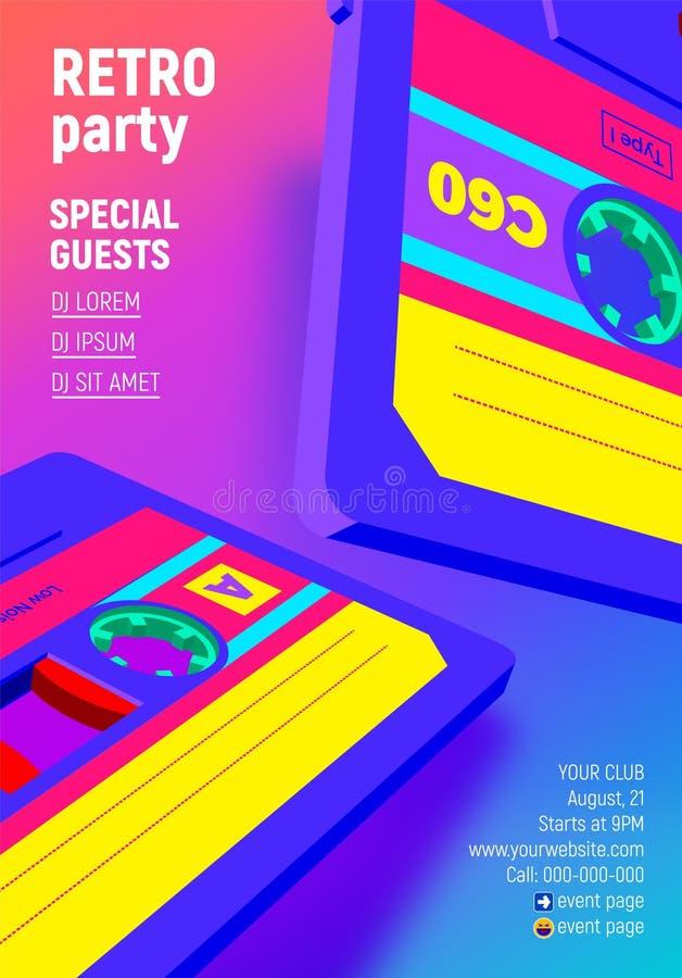Ścisły kaseta plakat z wibrującym retro 80s projektującym partyjnym zaproszeniem ilustracji