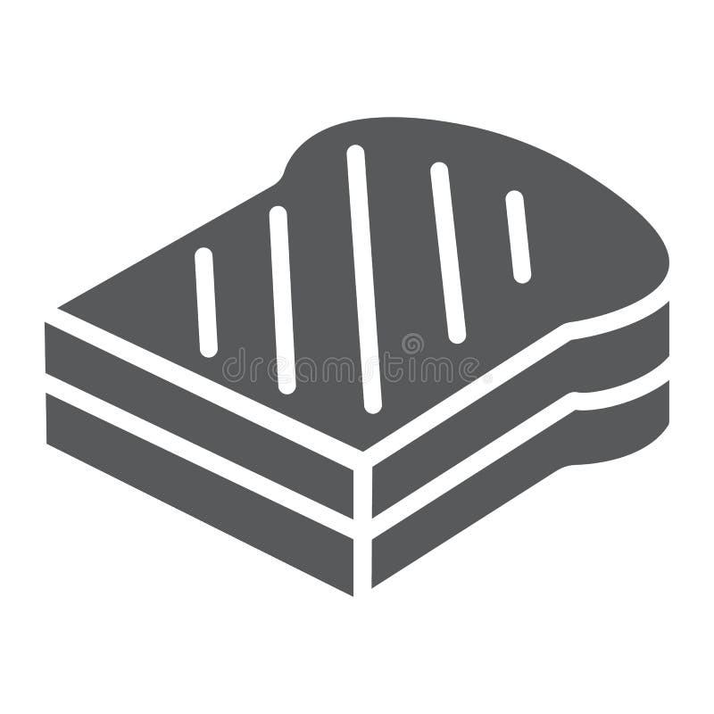 Ściska glif ikonę, jedzenie i chleb, fasta food znak, wektorowe grafika, bryła wzór na białym tle ilustracji