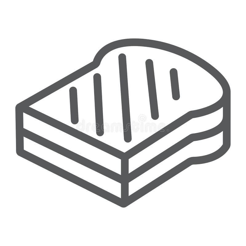 Ściska kreskową ikonę, jedzenie i chleb, fasta food znak, wektorowe grafika, liniowy wzór na białym tle ilustracji