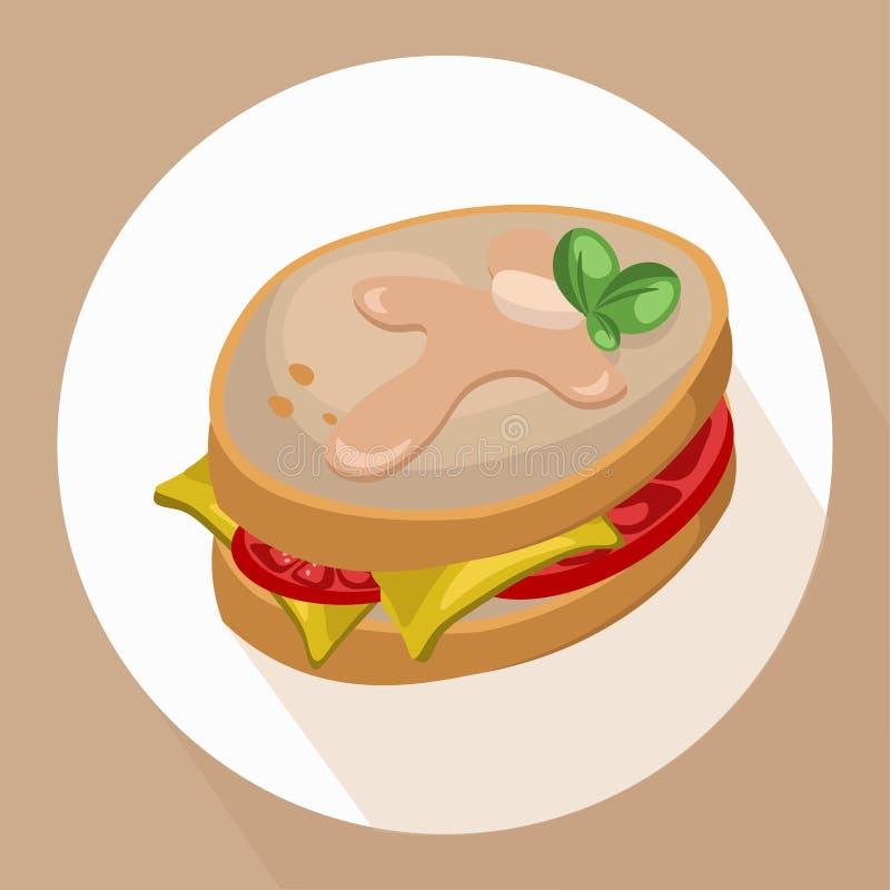 Ściska pomidory z zielonej sałatki zdrowym śniadaniowym świeżym smakowitym wektorem royalty ilustracja