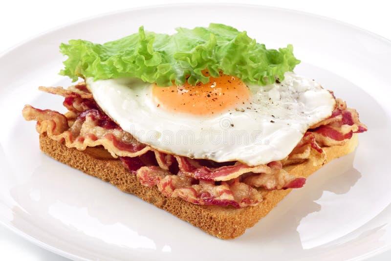 Ściska z bekonem, smażącym jajkiem i sałatą na talerzu, fotografia stock