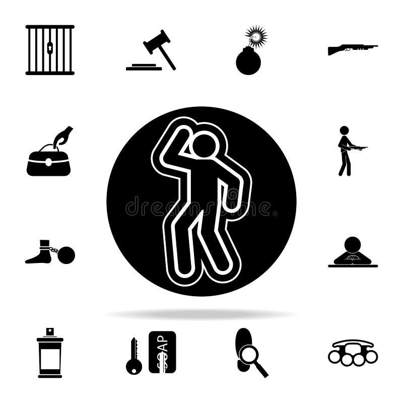 ślad kreda od morderstwo ikony Przestępstwo ikon ogólnoludzki ustawiający dla sieci i wiszącej ozdoby ilustracji
