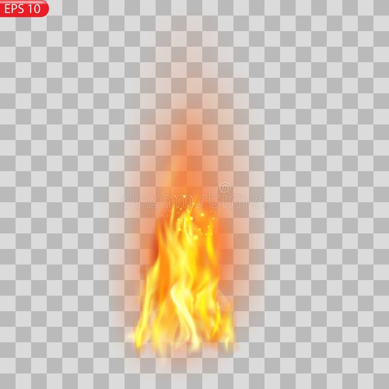Ślad ogień Palić płomieni półprzezroczystych elementów specjalnego skutek Realistyczny palenie ogień płonie wektorowego skutek royalty ilustracja