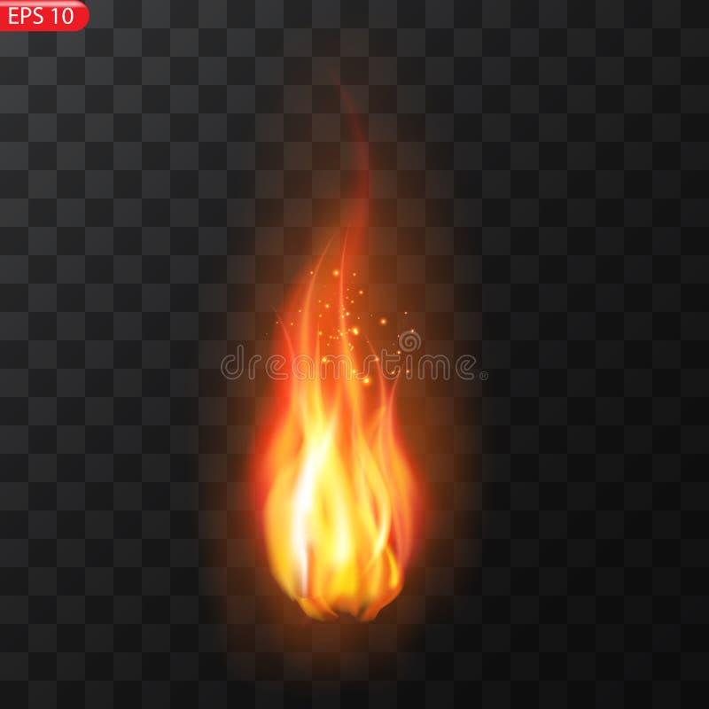 Ślad ogień Palić płomieni półprzezroczystych elementów specjalnego skutek Realistyczny palenie ogień płonie wektorowego skutek ilustracji