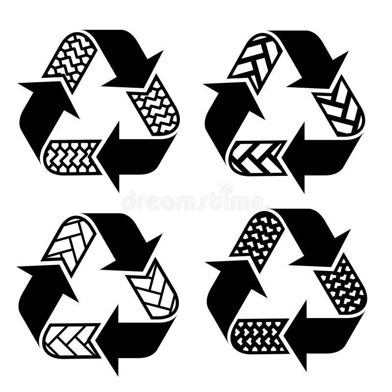 Ślad opona przetwarza symbole ilustracja wektor