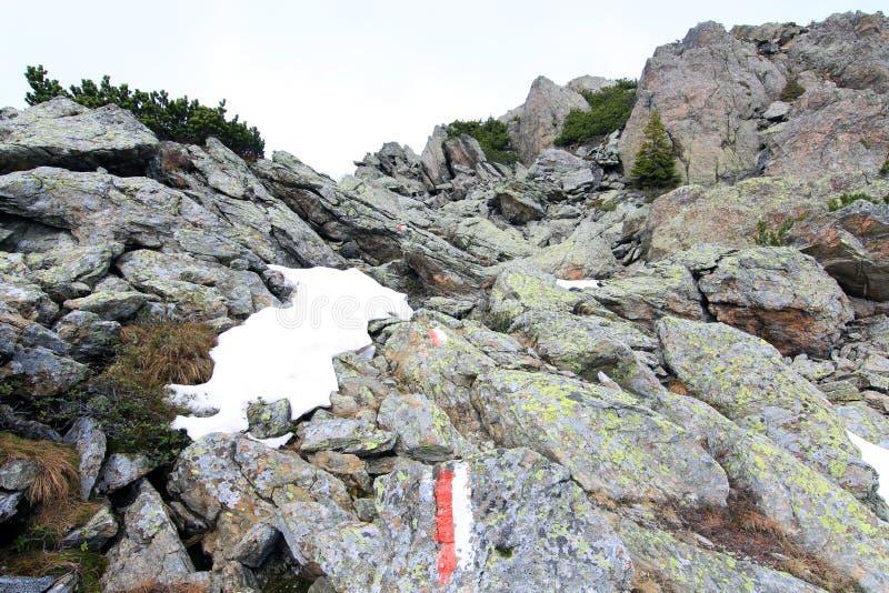 Ślad szczyt w alps (lesachtal) zdjęcia stock