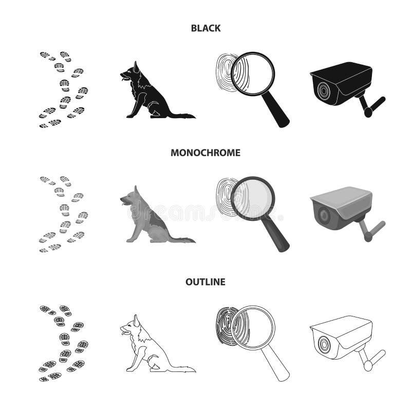 Ślada na ziemi, usługowa baca, kamera bezpieczeństwa, odcisk palca Więzienie ustalone inkasowe ikony w czarnym, monochrom ilustracja wektor