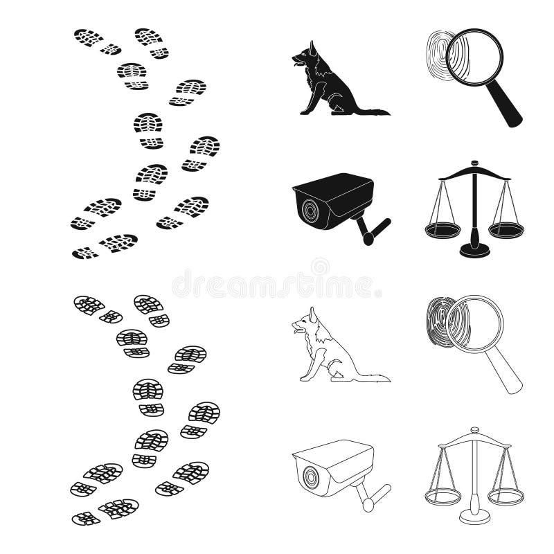 Ślada na ziemi, usługowa baca, kamera bezpieczeństwa, odcisk palca Więzienie ustalone inkasowe ikony w czerni, konturu styl ilustracja wektor