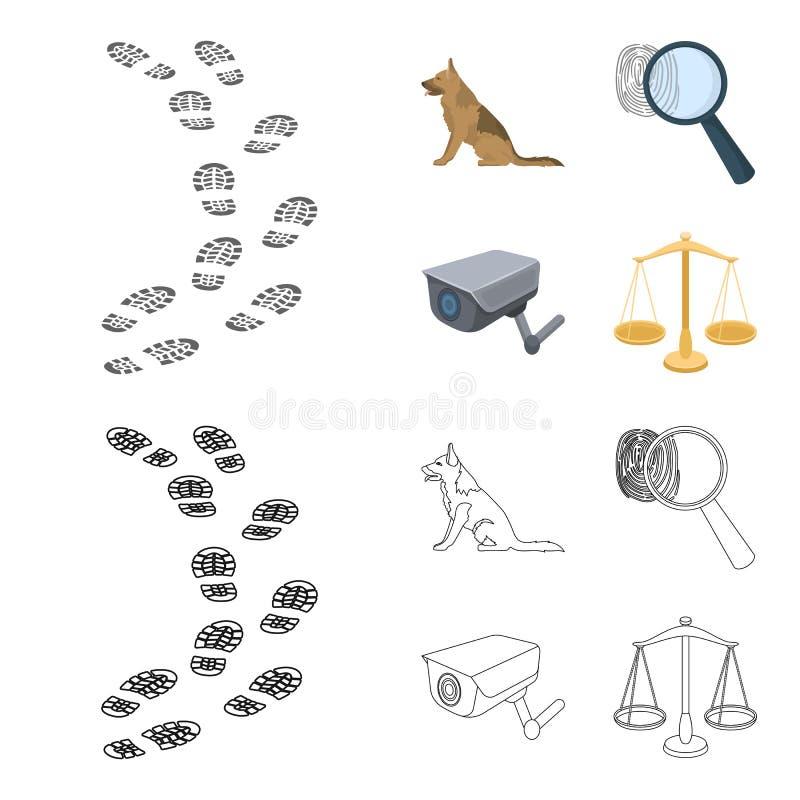 Ślada na ziemi, usługowa baca, kamera bezpieczeństwa, odcisk palca Więzienie ustalone inkasowe ikony w kreskówce, kontur ilustracja wektor