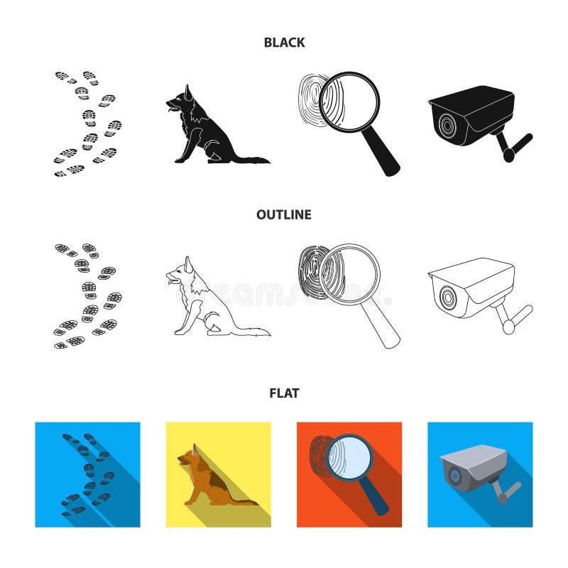 Ślada na ziemi, usługowa baca, kamera bezpieczeństwa, odcisk palca Więzienie ustalone inkasowe ikony w kreskówka stylu ilustracji