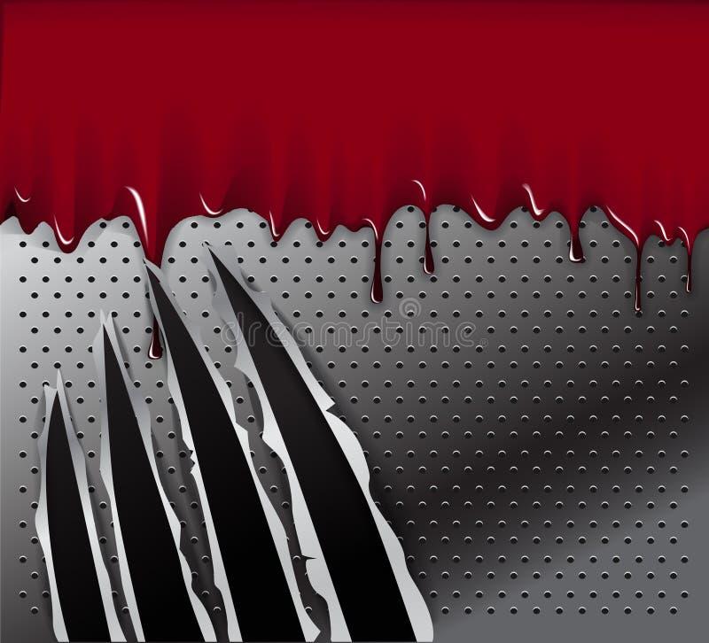 Ślada zwierzę drapają i krew ilustracja wektor