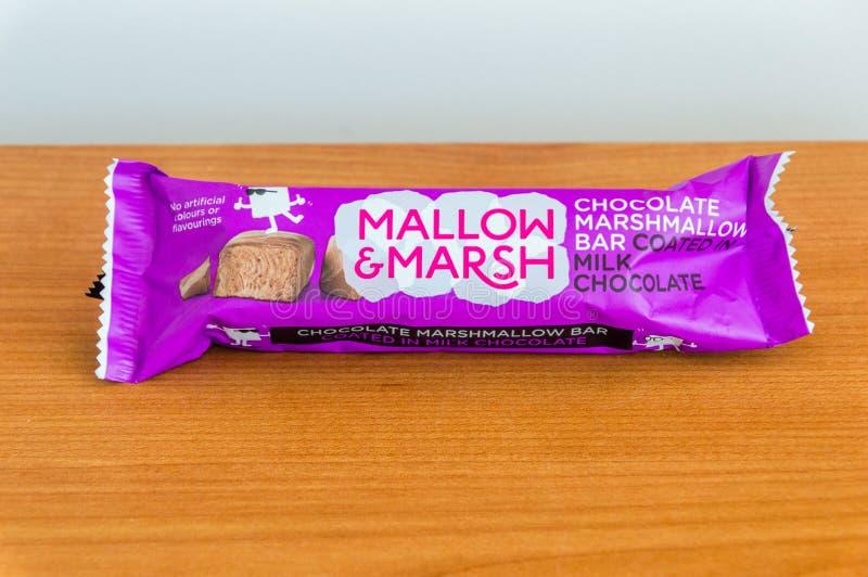 Ślaz & bagno jesteśmy czekoladowym marshmallow barem pokrywającym w dojnej czekoladzie obraz royalty free