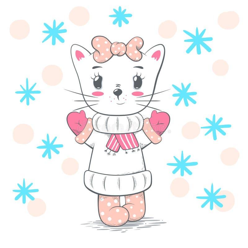 Śliczna, ładna miłość kota ilustracja, ilustracja wektor