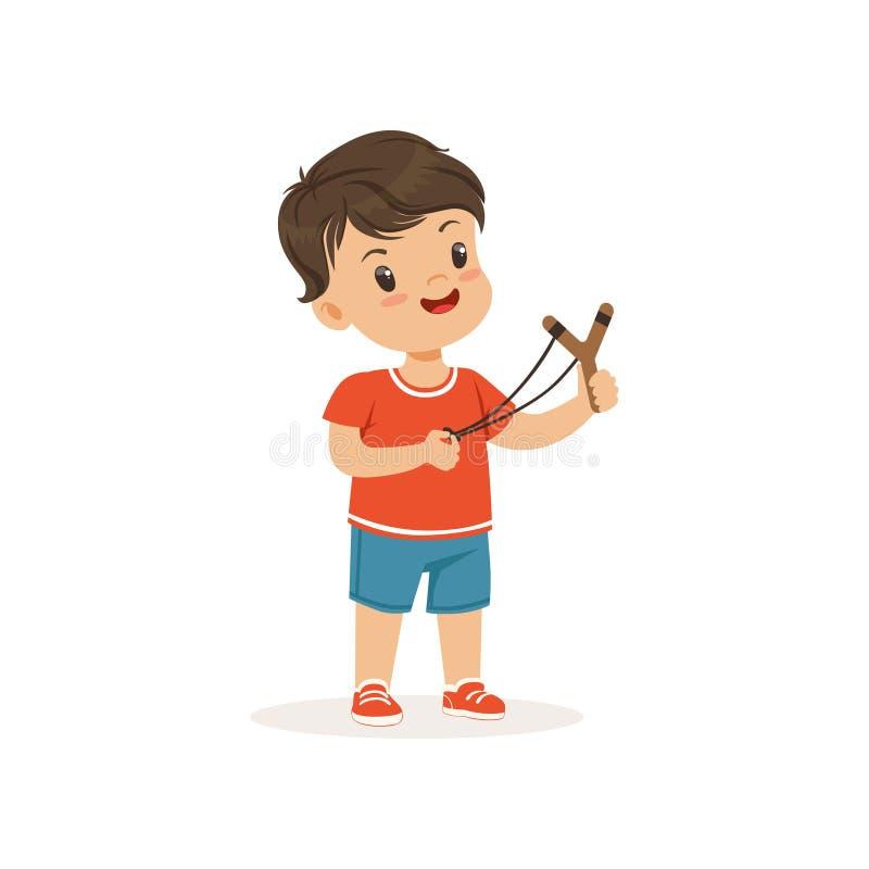 Śliczna łobuz chłopiec z slingshot, bandziora rozochocony małe dziecko, zła dziecka zachowania wektoru ilustracja royalty ilustracja