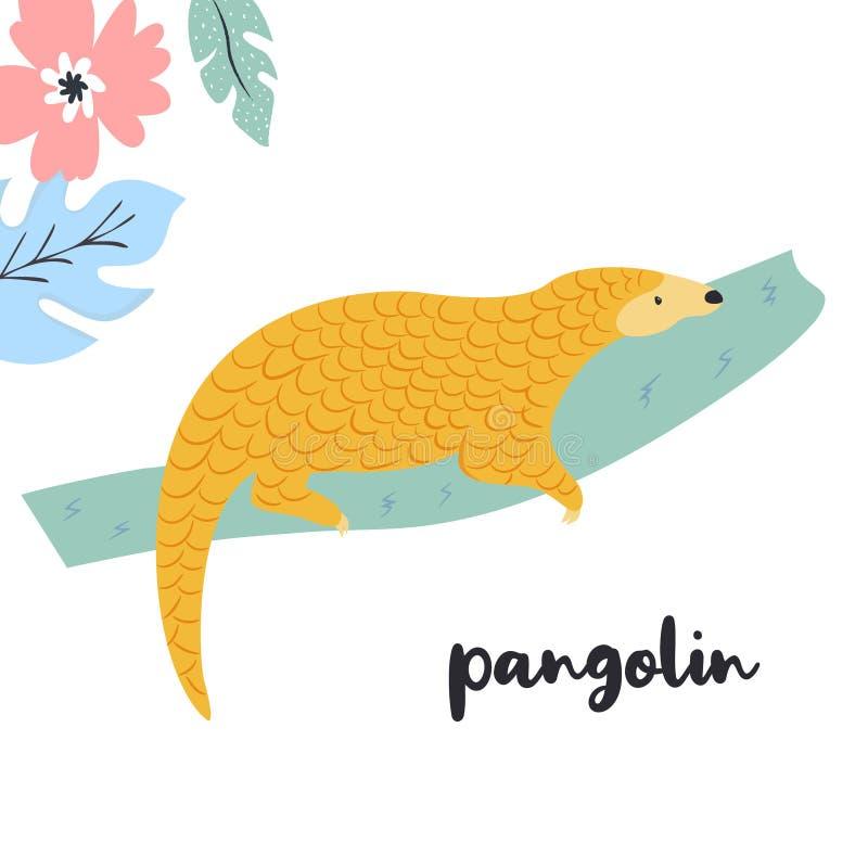 Śliczna łuskowiec na gałąź Rzadcy gatunki zwierzęta ilustracja wektor