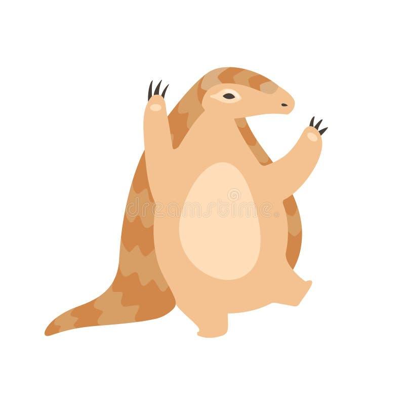 Śliczna łuskowiec postaci z kreskówki pozycja na Dwa nogach, Rzadcy gatunki zwierzę wektoru ilustracja royalty ilustracja