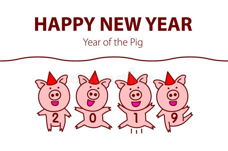 Śliczna śmieszna świnia szczęśliwego nowego roku, Chiński symbol 2019 rok wektorowe czarne kreskowego rysunku cztery świnie tancz ilustracja wektor