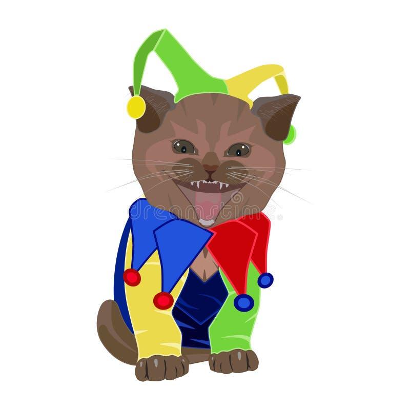 Śliczna śmieszna figlarka w Kwietni durni dnia kapeluszu, joker wektorowa płaska ilustracja ilustracji