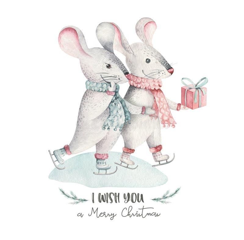 Śliczna śmieszna kreskówek bożych narodzeń myszy kartka bożonarodzeniowa Akwarela szczura zwierzęcia ręka rysująca ilustracja Now royalty ilustracja
